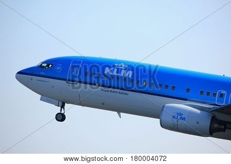Amsterdam the Netherlands - April 2nd 2017: PH-BXM KLM Royal Dutch Airlines Boeing 737-800 takeoff from Polderbaan runway Amsterdam Airport Schiphol