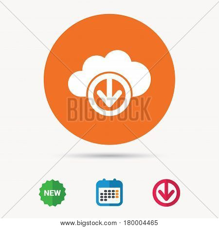 Download from cloud icon. Data storage technology symbol. Calendar, download arrow and new tag signs. Colored flat web icons. Vector