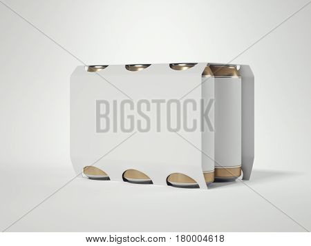 Package with six white beer cans isolated in bright background. 3d rendering