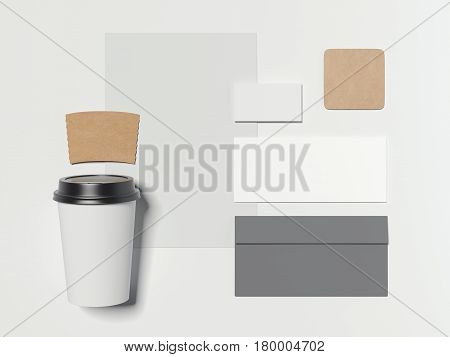 Branding mockup with cardboard coffee cup isolated on bright background. 3d reendering
