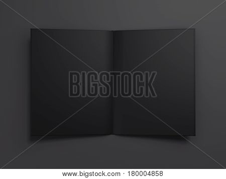 Black blank opened book isolated on dark background. 3d rendering
