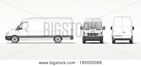 White industrial van isolated on bright background. Template for branding and corporate identity on transport. 3d rendering