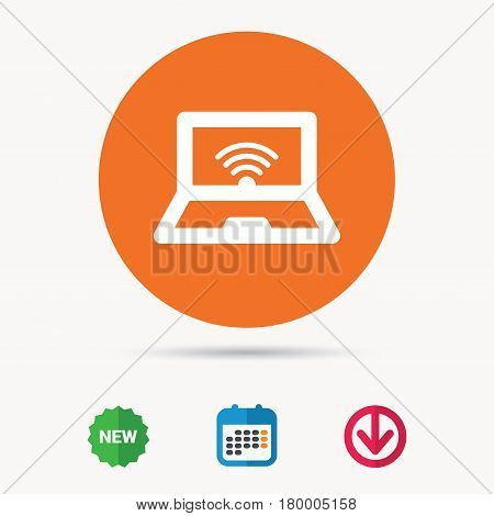 Computer with wifi icon. Notebook or laptop pc symbol. Calendar, download arrow and new tag signs. Colored flat web icons. Vector