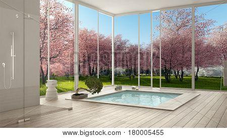 Scandinavian bathroom white minimalistic interior design big panoramic windows spring garden pink flowering trees hotel spa resort, 3d illustration