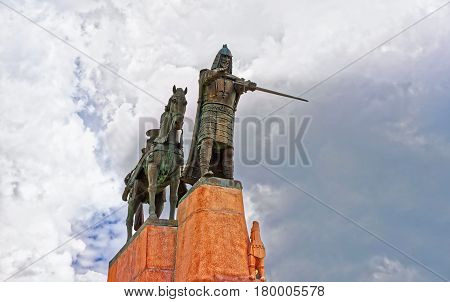 Statue Of Grand Duke Gediminas On Cathedral Square In Vilnius
