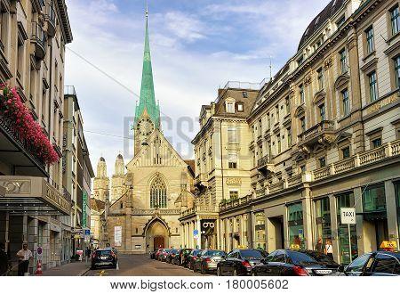 Street View On Fraumunster Church Of Zurich