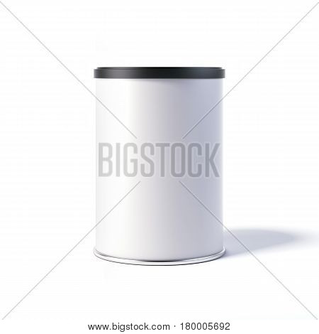 White tin can with black cap isolated on bright background. 3d rendering