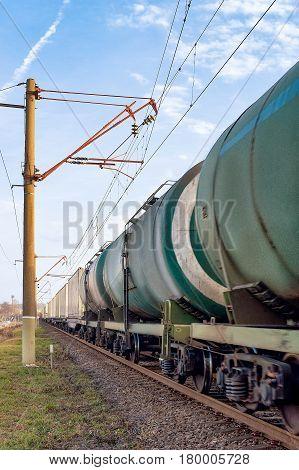 Cistern train wagon on the rail ways