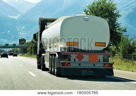 Truck On Road In Valais Canton Switzerland