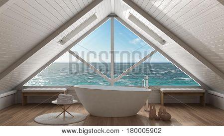Panoramic window on open sea ocean mezzanine loft spa bathroom minimalist scandinavian interior design, 3d illustration