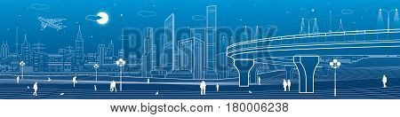 Automobile overpasses, infrastructure and city panorama, people walking, airplane fly, night town, towers and skyscrapers, urban scene, vector design art