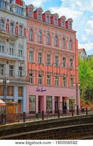 Promenade Street Above Tepla River In Karlovy Vary