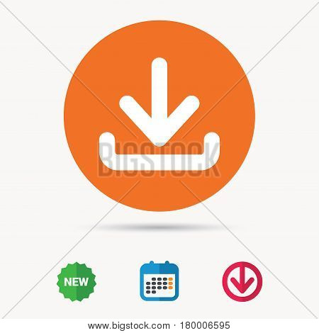 Download icon. Load internet data symbol. Calendar, download arrow and new tag signs. Colored flat web icons. Vector