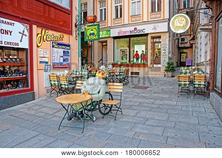 Street With Restaurants In City Center Of Karlovy Vary