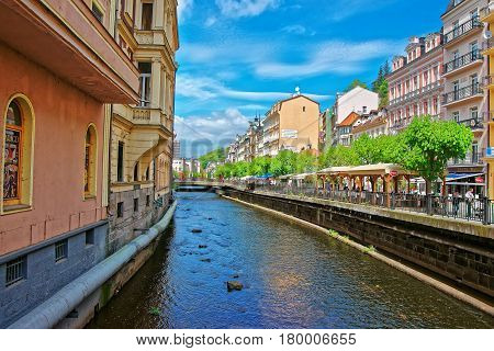 Tepla River And Its Promenade At Karlovy Vary Czech Republic