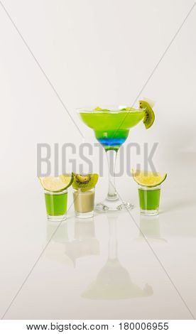 Colorful Drink In A Margarita Glass, Blue And Green Combination, Many Drinks In A Shotglass