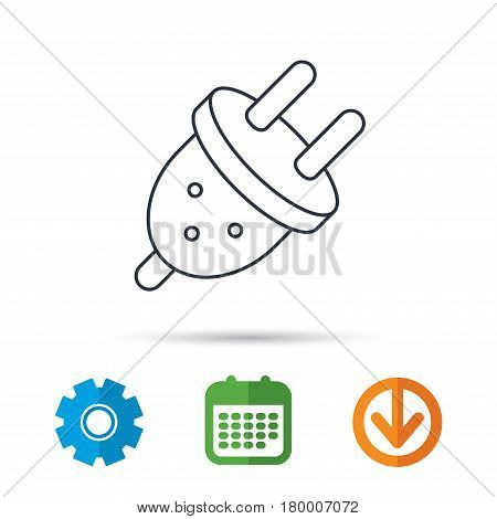 Electric plug icon. European socket sign. Calendar, cogwheel and download arrow signs. Colored flat web icons. Vector