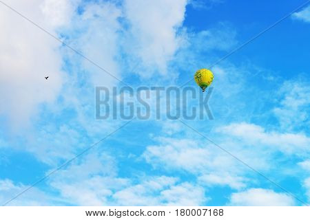 Colorful Hot Air Ballon Flying In Sky