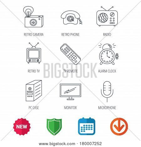 Retro camera, radio and phone call icons. Monitor, PC case and microphone linear signs. TV remote, alarm clock icons. New tag, shield and calendar web icons. Download arrow. Vector