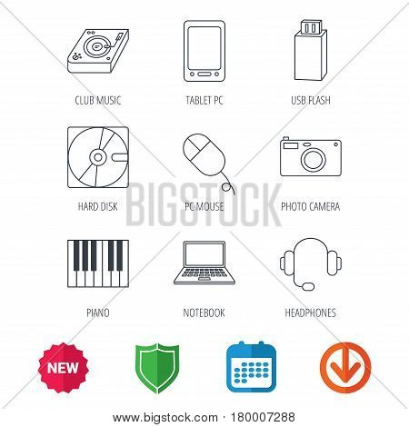 Tablet PC, USB flash and notebook laptop icons. Club music, hard disk and photo camera linear signs. Piano, headphones icons. New tag, shield and calendar web icons. Download arrow. Vector