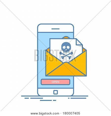 Back malware notification in email on mobile phone. Concept of spam data on cellphone fraud error message, scam, virus. Smartphone with skull bones alert. Line vector illustration