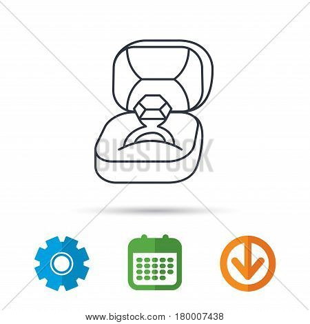 Engagement ring icon. Jewellery box sign. Calendar, cogwheel and download arrow signs. Colored flat web icons. Vector