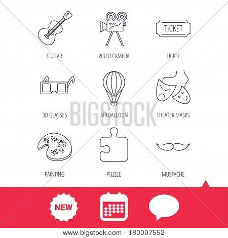 Puzzle, guitar music and theater masks icons. Ticket, video camera and 3d glasses linear signs. Entertainment, painting and mustache icons. New tag, speech bubble and calendar web icons. Vector