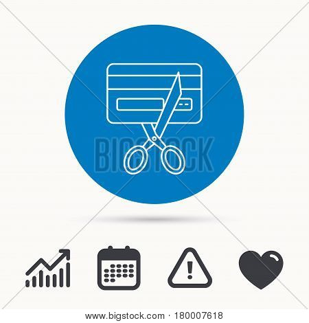 Expired credit card icon. Shopping sign. Calendar, attention sign and growth chart. Button with web icon. Vector