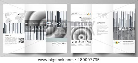 Tri-fold brochure business templates on both sides. Easy editable abstract vector layout in flat design. Simple monochrome geometric pattern. Minimalistic background. Gray color shapes