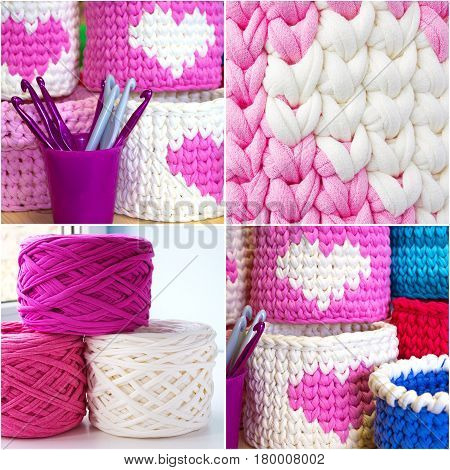 Bright collage of crochet boxes hooks yarn and crochet stitches sample. Pink white and blue crochet textile tutorial pattern. Thick ribbon cotton yarn