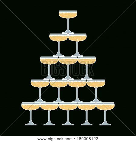 Glass of champagne Vector illustration A cascade of sparkling champagne glasses on a dark background Flat design