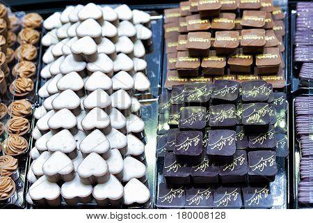 Selection Of Swiss Milk And White Chocolate Praline Sweet
