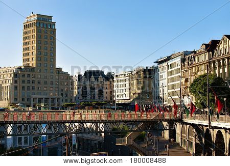 Flon District And Grand Pont Bridge With Bel Air Tower