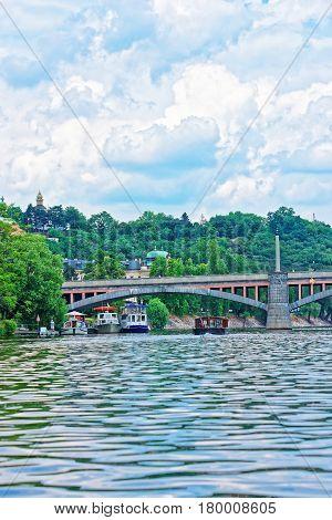 Jirasek Bridge Over Vltava River In Prague