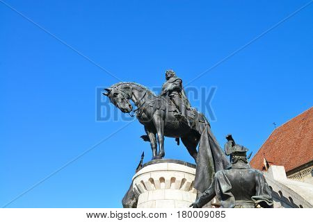 Cluj Napoca city Romania Statue of Matei Corvin landmark architecture