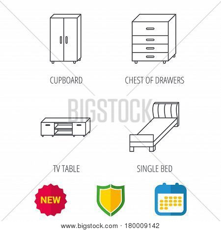 Single bed, TV table and cupboard icons. Chest of drawers linear sign. Shield protection, calendar and new tag web icons. Vector