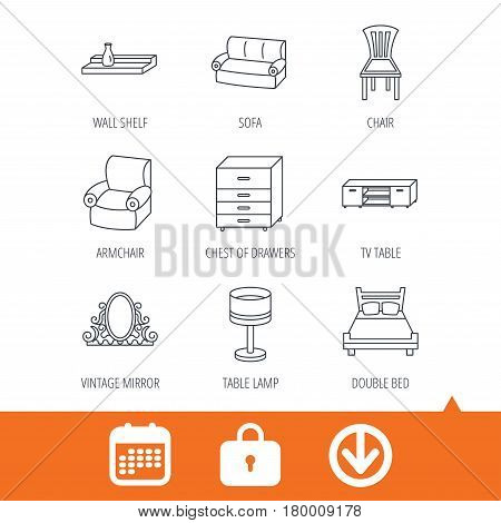 Double bed, table lamp and armchair icons. Chair, lamp and vintage mirror linear signs. Wall shelf, sofa and chest of drawers furniture icons. Download arrow, locker and calendar web icons. Vector