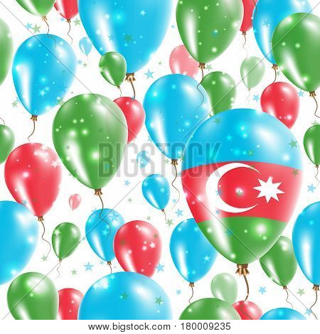 Azerbaijan Independence Day Seamless Pattern. Flying Rubber Balloons In Colors Of The Azerbaijani Fl
