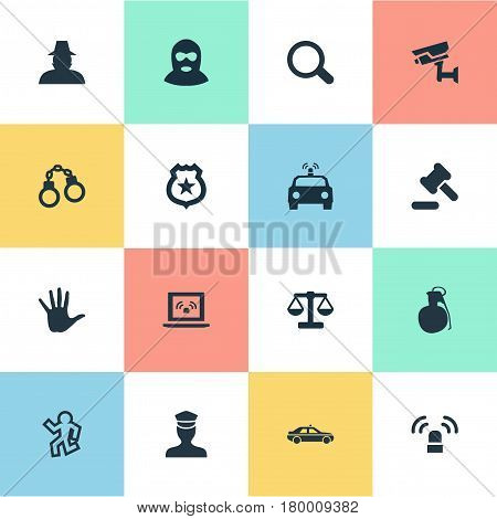 Vector Illustration Set Of Simple Fault Icons. Elements Explosive, Automobile, Inspector And Other Synonyms Agent, Comparison And Chain.