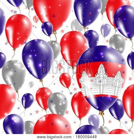 Cambodia Independence Day Seamless Pattern. Flying Rubber Balloons In Colors Of The Cambodian Flag.