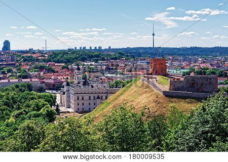 Tower And Lower Castle Vilnius In Lithuania