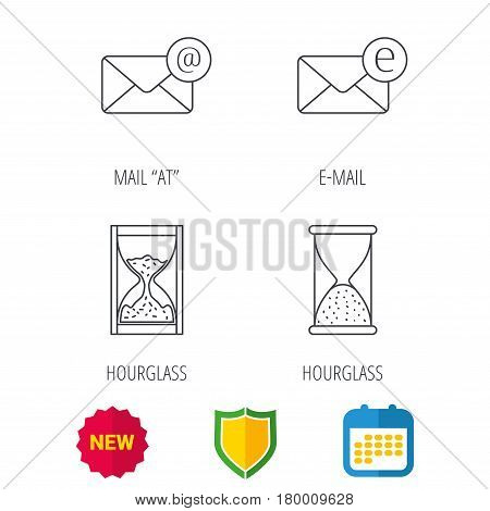 Mail, e-mail and hourglass icons. E-mail inbox linear sign. Shield protection, calendar and new tag web icons. Vector