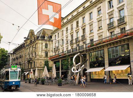 Tram On Bahnhofstrasse Street In City Center Zurich