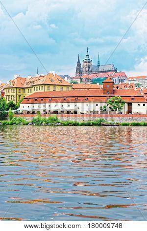 Vltava River and Kafka Museum and Old town of Prague Czech Republic