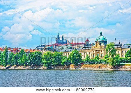 Vltava River Embankment With Prague Old Town And Strakova Academy