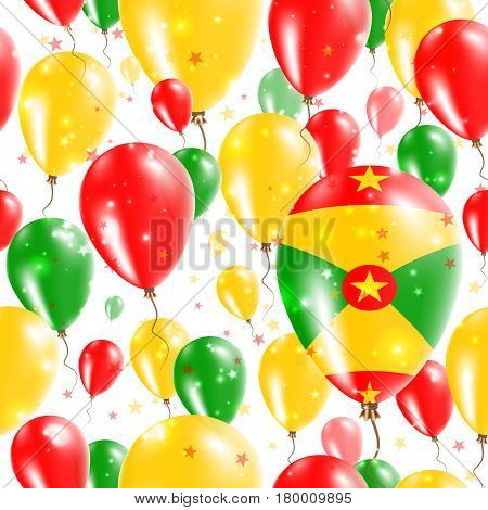 Grenada Independence Day Seamless Pattern. Flying Rubber Balloons In Colors Of The Grenadian Flag. H