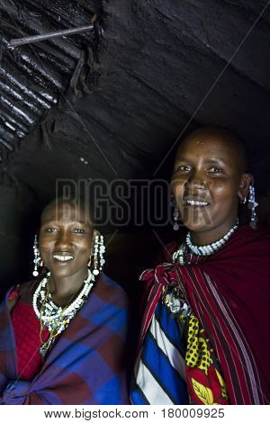 Maasai Chief Wive In Hut
