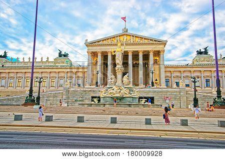 Austrian Parliament Building On Ringstrasse In Vienna Austria