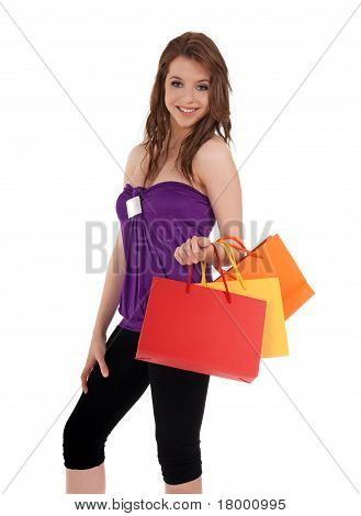 Smiling Girl With Colorful Shopping Bags