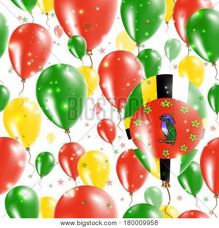 Dominica Independence Day Seamless Pattern. Flying Rubber Balloons In Colors Of The Dominican Flag.